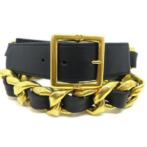 CHANEL CC Logos Gold Chain Buckle Belt Leather